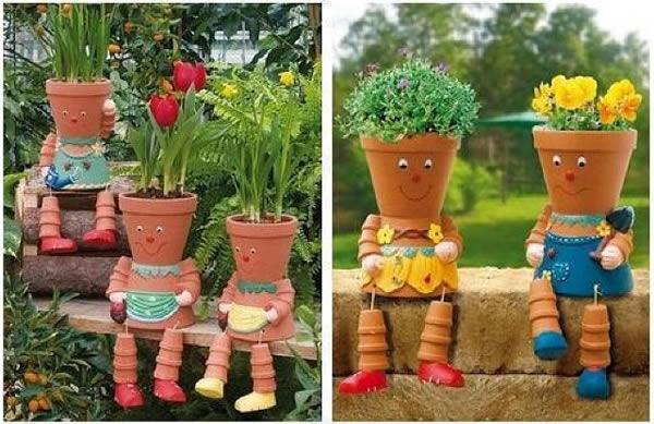 Boneco de vaso para decorar o jardim